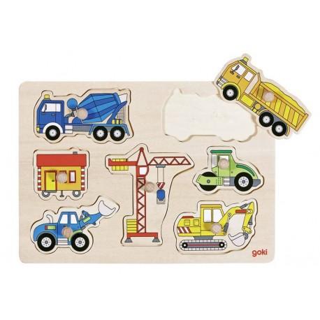 Goki - 57593 - Drewniane Puzzle z Uchwytami 7 - Maszyny Budowlane