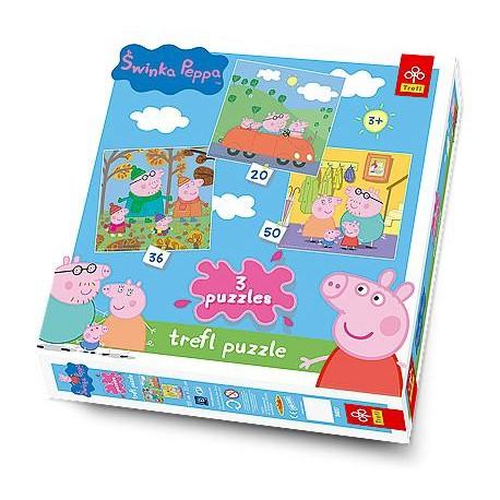 Trefl - 34057 - Puzzle 3 w 1 - Świnka Peppa
