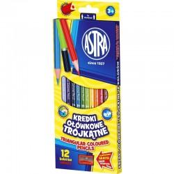 ASTRA Komplet Kredek z Temperówką KREDKI OŁÓWKOWE TRÓJKĄTNE 12 Kolorów 60443
