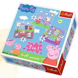 TREFL Puzzle 3 w 1 ŚWINKA PEPPA W SZKOLE 34813