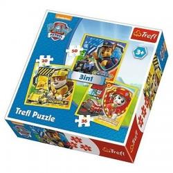 TREFL Puzzle 3 w 1 DRUŻYNA PSIEGO PATROLU 34839