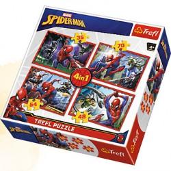 TREFL Puzzle 4 w 1 SPIDERMAN W SIECI 34293