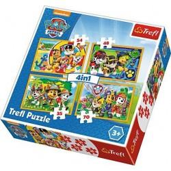 TREFL Puzzle 4 w 1 PSI PATROL ZAWSZE NA CZAS 34307