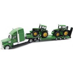 SIKU FARMER 1837 - Rolnicze Pojazdy Metalowe 1:87 - Ciężarówka z Naczepą i Dwa Traktory JOHN DEERE