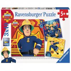 RAVENSBURGER Puzzle 3x49 STRAŻAK SAM DZWOŃ PO POMOC 093861