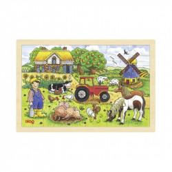Goki Drewniane Puzzle Układanka FARMA 57891