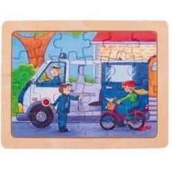 Goki Drewniane Puzzle Układanka POLICJA 57739
