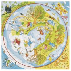 Goki Drewniane Puzzle Układanka CZTERY PORY ROKU 57689