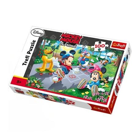 Trefl - 16249 - Puzzle 100 Myszka Miki i Przyjaciele - Na Rolkach