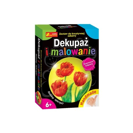 Ranok Creative - 3545- Dekupaż i Malowanie - Ozdobny Talerzyk - Czerwone Tulipany