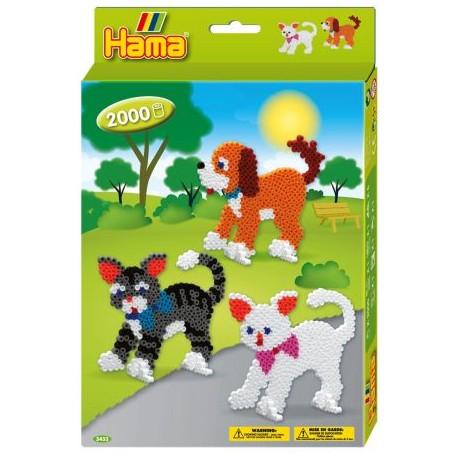 Hama - Midi - 3433 - Koraliki Kolorowe - Zestaw Kotki i Pies 2000 szt.