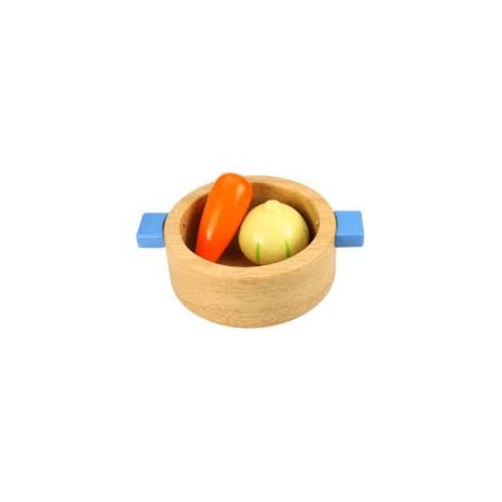 Bigjigs Toys - BJ701 - Drewniana Miseczka z Warzywami
