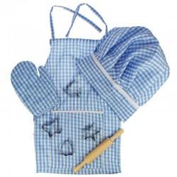 Bigjigs Toys - BJ610 - Zestaw Małego Kucharza w Niebieską Kratkę