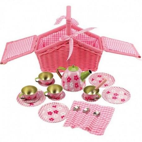 Bigjigs Toys - BJ607 - Serwis do Herbaty - Koszyczek Piknikowy