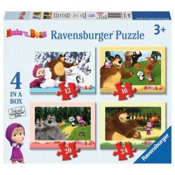 RAVENSBURGER Puzzle 4w1 MASZA I NIEDŹWIEDŹ 070282