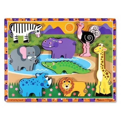 Melissa & Doug - 13722 - Drewniana Układanka - Dzikie Zwierzęta