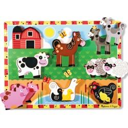Melissa & Doug - 13723 - Drewniana Układanka - Zwierzęta na Farmie