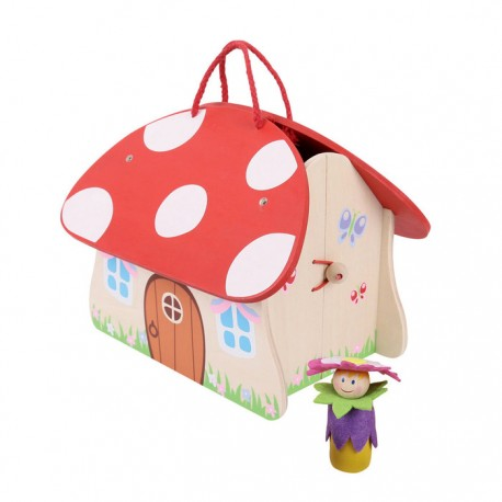 Bigjigs Toys - BJ681 - Drewniany Mini Domek - Grzybek