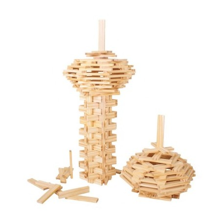 Bigjigs Toys - BJ645 - Klocki Drewniane - Naturalne Deseczki
