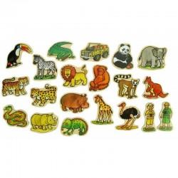 Bigjigs Toys - BJ729 - Drewniane Magnesy - Dżungla