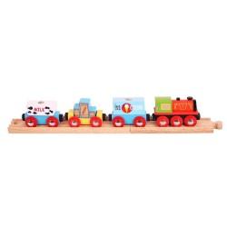Bigjigs Toys - BJT181 - Pociąg Towarowy - Produkty Mleczne