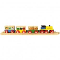 Bigjigs Toys - BJT180 - Pociąg Towarowy - Owoce i Warzywa