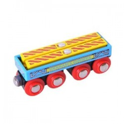 Bigjigs Toys - BJT409 - Wagon z Dźwigarami - do Kolejek Drewnianych