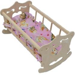MALIMAS 4422 - Kołyska Drewniana dla Lalki z Pościelą i Rzeźbieniami