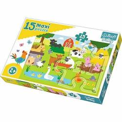 TREFL Puzzle Maxi Układanka 15 el. ZWIERZĘTA NA WSI 14275