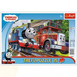 TREFL Puzzle na Podkładce Układanka 15 el. TOMEK I PRZYJACIELE 31231