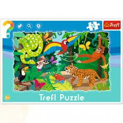 TREFL Puzzle na Podkładce Układanka 15 el. LAS TROPIKALNY 31219