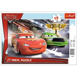 TREFL Puzzle na Podkładce Układanka 15 el. WYŚCIG PO PUCHAR Cars Disney 31230