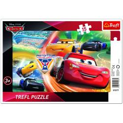 TREFL Puzzle na Podkładce Układanka 15 el. WALKA O ZWYCIĘSTWO Cars Disney 31277