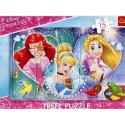 TREFL Puzzle na Podkładce Układanka 15 el. TRZY UŚMIECHNIĘTE KSIĘŻNICZKI Princess Disney 31279