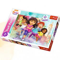 TREFL Puzzle Maxi Układanka 24 el. DORA i Przyjaciele Gotowi do Startu 14242