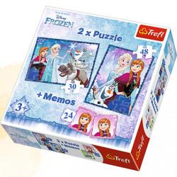 TREFL Puzzle Układanka 2w1 Memo KRAINA LODU 90617
