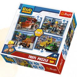 TREFL Puzzle Układanka 4w1 BOB BUDOWNICZY Pracowity Dzień 34270