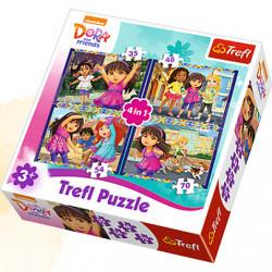 TREFL Puzzle Układanka 4w1 DORA i Przyjaciele 34265