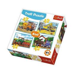 TREFL Puzzle Układanka 4w1 MASZYNY BUDOWLANE 34298