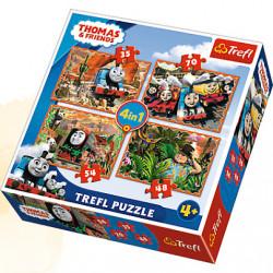 TREFL Puzzle Układanka 4w1 Tomek i Przyjaciele PODRÓŻE PO ŚWIECIE 34300