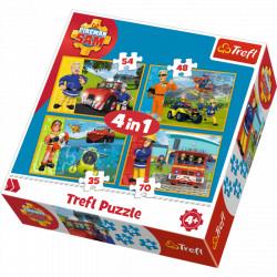 TREFL Puzzle Układanka 4w1 STRAŻAK SAM 34311