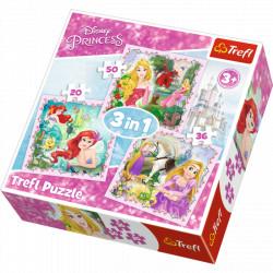 TREFL Puzzle Układanka 3w1 Księżniczki Disney Princess 34842