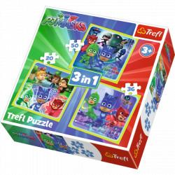 TREFL Puzzle Układanka 3w1 Wspaniała Drużyna Pidżamersów 34840