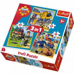 TREFL Puzzle Układanka 3w1 Strażak Sam 34844