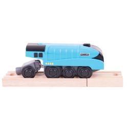 Bigjigs Toys Niebieska Lokomotywa na Baterie Mallard BJT308