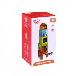TOOKY TOY Drewniany Zestaw Pudełka ze Zwierzętami TKF053