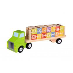TOOKY TOY Drewniana Ciężarówka z Cyferkami Literkami TKF002