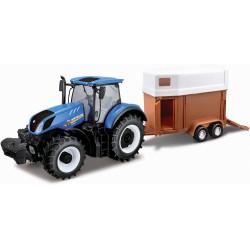 Bburago NEW HOLLAND Traktor i Przyczepa dla Koni w Skali 1:32 44060