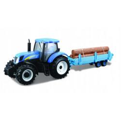 Bburago NEW HOLLAND Traktor i Przyczepa do Drewna w Skali 1:32 44060
