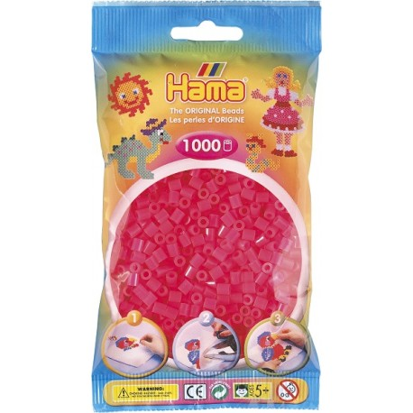 Hama - Midi - 20732 - Koraliki Różowe - Neonowe - Zestaw Uzupełniający 1000 szt